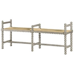 Jacobean Style Grey Painted Bench
