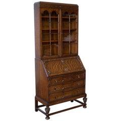 Jacobean Style Oak Bureau Bookcase