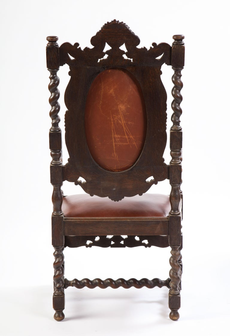 Jacobean Style Oak High-Back Armchair with Leather Upholstery, 20th Century For Sale 11