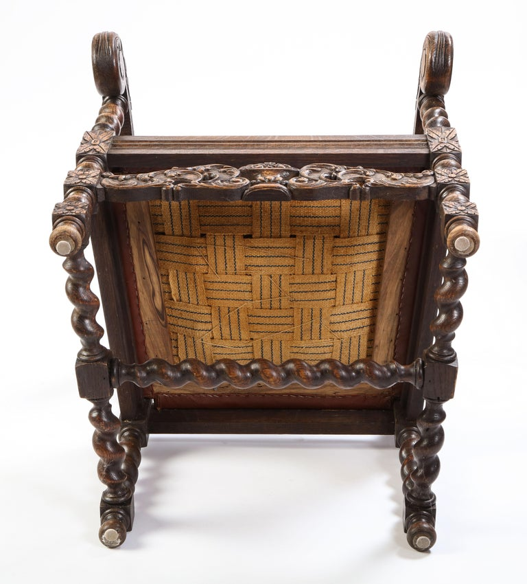 Jacobean Style Oak High-Back Armchair with Leather Upholstery, 20th Century For Sale 12