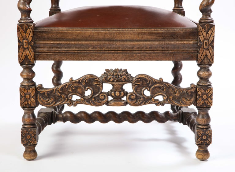 Jacobean Style Oak High-Back Armchair with Leather Upholstery, 20th Century In Good Condition For Sale In New York, NY