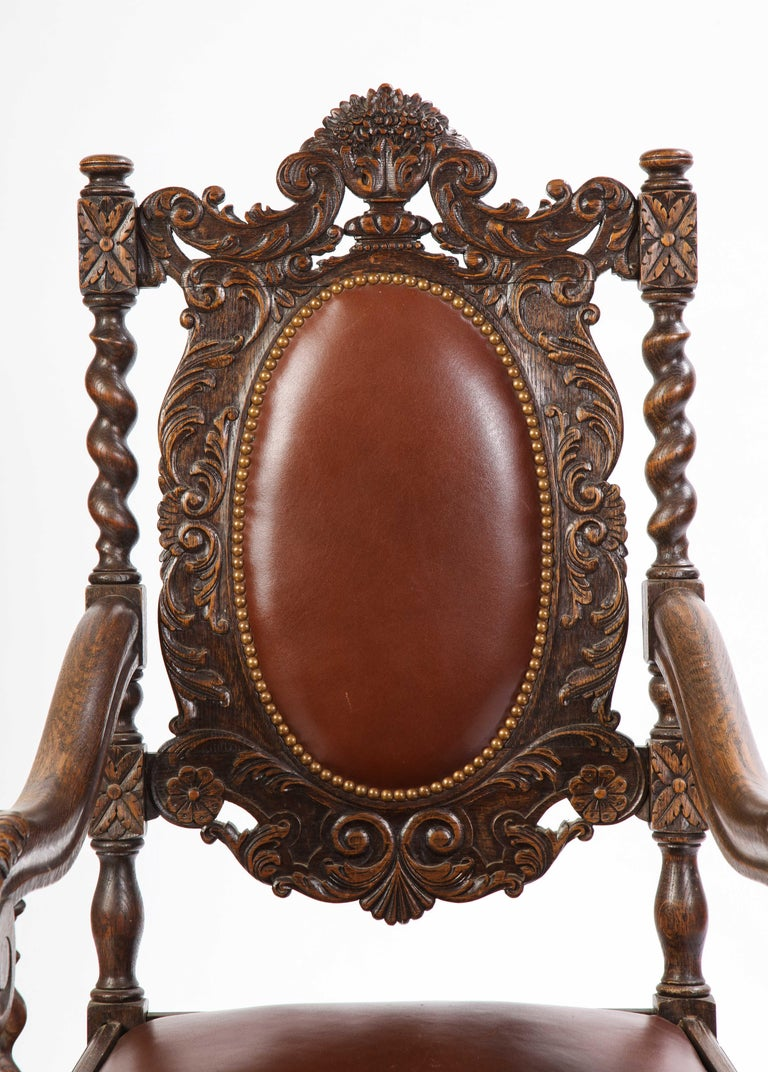 Jacobean Style Oak High-Back Armchair with Leather Upholstery, 20th Century For Sale 1