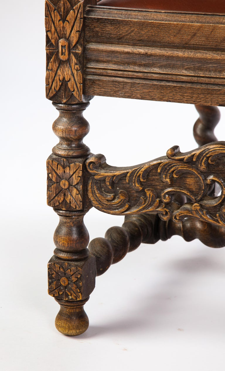 Jacobean Style Oak High-Back Armchair with Leather Upholstery, 20th Century For Sale 2