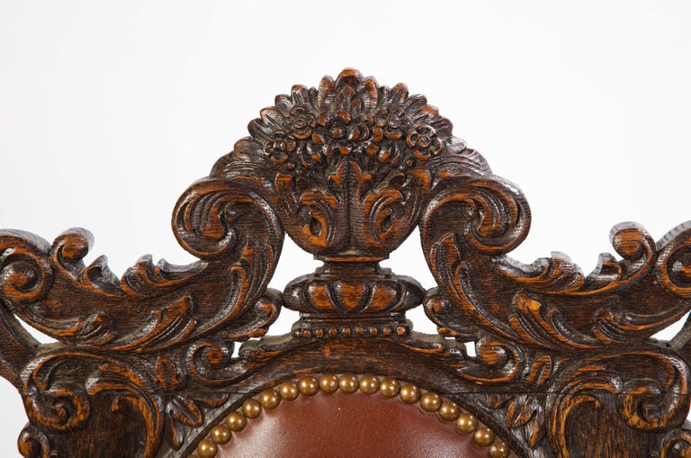 Jacobean Style Oak High-Back Armchair with Leather Upholstery, 20th Century For Sale 3