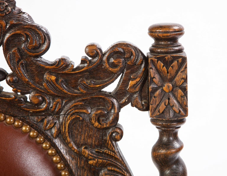 Jacobean Style Oak High-Back Armchair with Leather Upholstery, 20th Century For Sale 4