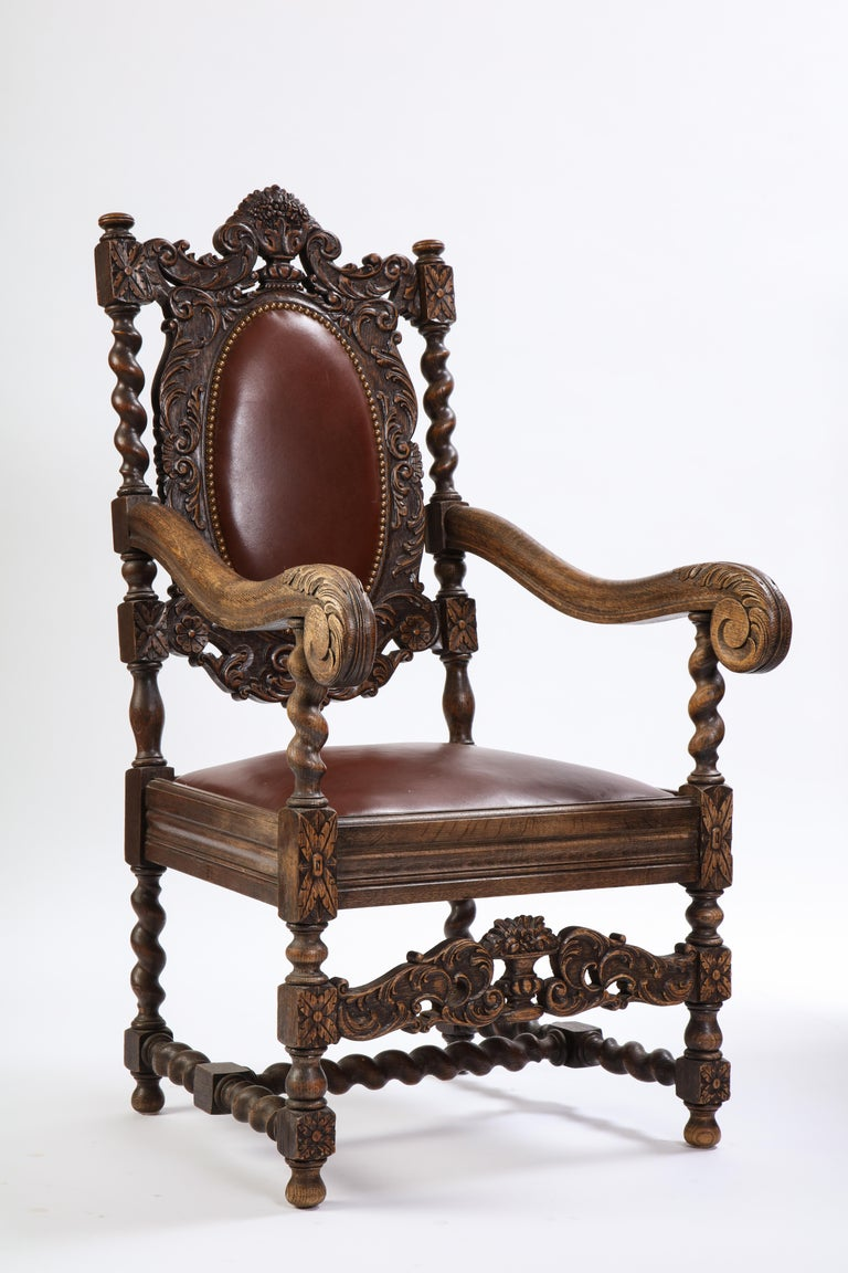 Jacobean Style Oak High-Back Armchair with Leather Upholstery, 20th Century For Sale 6