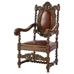 Jacobean Style Oak High-Back Armchair with Leather Upholstery, 20th Century