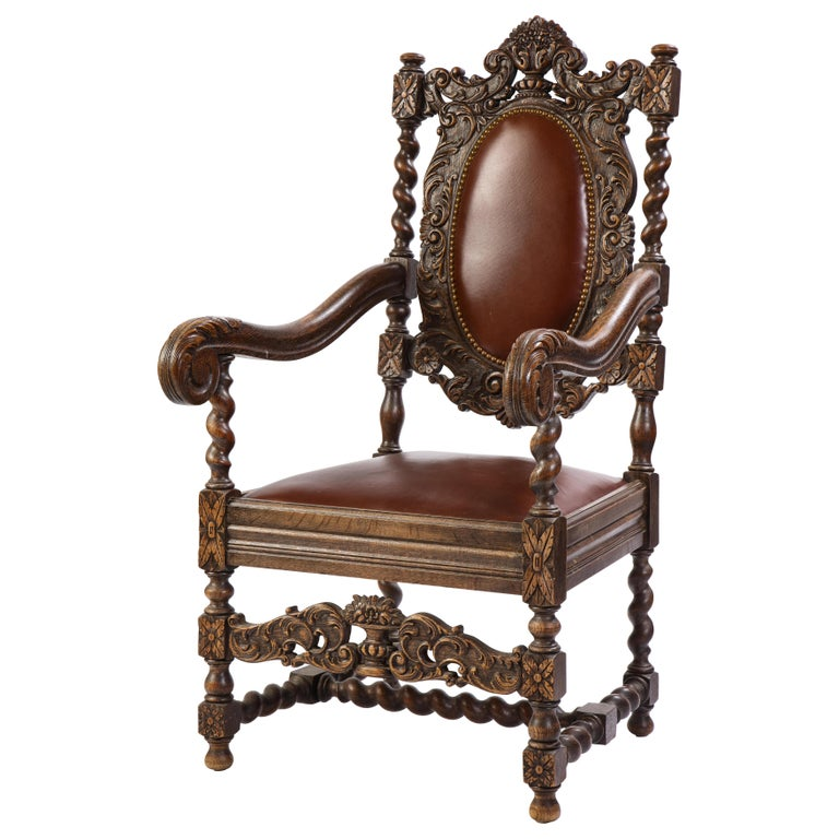 Jacobean Style Oak High-Back Armchair with Leather Upholstery, 20th Century For Sale