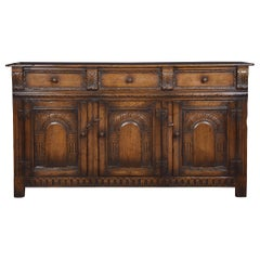 Jacobean Style Oak Three-Drawer Dresser Base