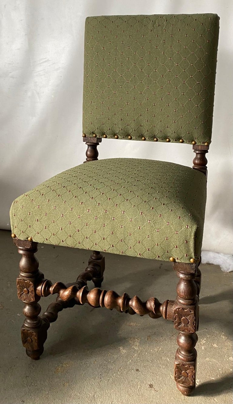 Jacobean style side chair having a rectangular padded back and seat, raised on turned legs joined by stretchers. Great chair for a games table, accent chair, desk chair, boudoir or dressing room chair. Jacobean, Gothic, Gothic revival.
