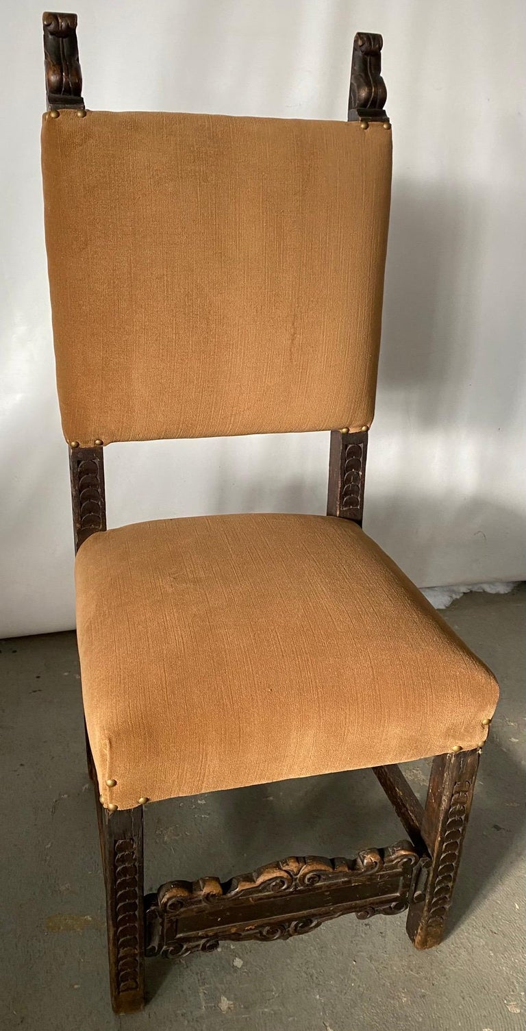 Hand-Carved Jacobean Style Side Chair For Sale