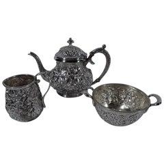 Jacobi & Jenkins Baltimore Repousse Sterling Silver 3-Piece Bachelor Tea Set