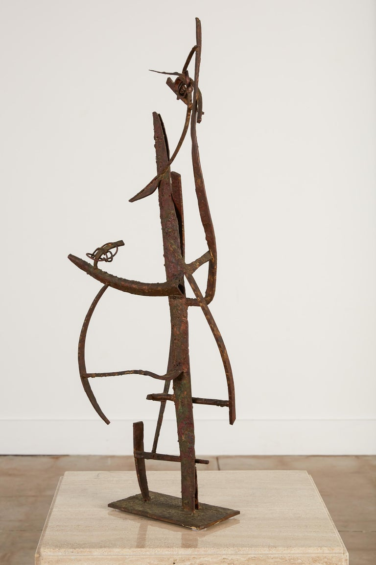 """A large 1958 sculpture in welded steel, brass, bronze, and copper on a small plate mount by California-based artist Max Finkelstein. Entitled """"Jacob's Ladder,"""" the piece displays Finkelstein's signature Kinetic energy and playful use of geometry."""