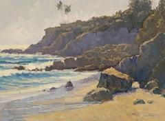 """""""Afternoon Glare"""" Laguna Beach California Seascape Plein Air Painting"""