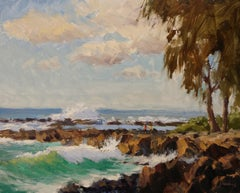 """Big Surf At Shark's Cove"" North Shore Hawaii Plein Air Oil Painting"