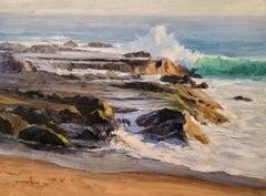 """Breaking Waves, Aliso Beach"" Southern California Coastal Scene"
