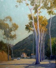 """Broadway Eucalyptus,"" Laguna Main Beach Plein Air Oil Painting by Jacobus Baas"