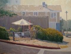 """Community Garden Umbrella"" California Plein Air Painting by Jacobus Baas"