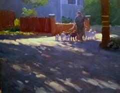 """""""Dog Walker"""" California Plein Air Painting by Jacobus Baas"""
