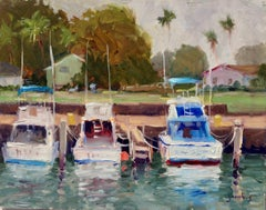 """Fishing Boats, Haliewa Harbor""  Hawaii Plein Air Oil Painting by Jacobus Baas"