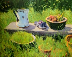 """""""Garden Watering Can""""  California Plein Air Painting With Greens, Red Highlights"""