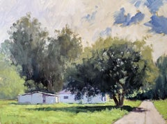 """""""La Salle Farm House"""" California Plein Air Painting with Green, Blues and White"""