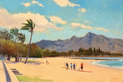 """Paddle Board Lesson"" North Shore Hawaii Plein Air Oil Painting"