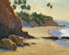 """Picnic Beach Cliffs"" Laguna Beach California Seascape Plein Air Painting"