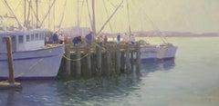 """Pier Fishing"" California Plein Air Oil Painting by Jacobus Baas"