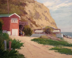 """Red Cottage, Crystal Cove"" California Plein Air Painting by Jacobus Baas"