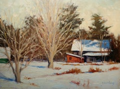 """Red Tool Shed"" Maine Plein Air Oil Painting"