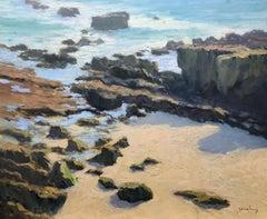 """Rockpile, Heisler"" Southern California Coastal Scene"