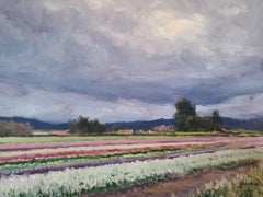 """Storm Clouds Over Flower Fields"" California Plein Air Painting with Green, Reds"