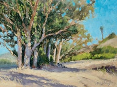 """""""Sunny Day""""  California Plein Air Painting With Greens, Tans and  Blues"""