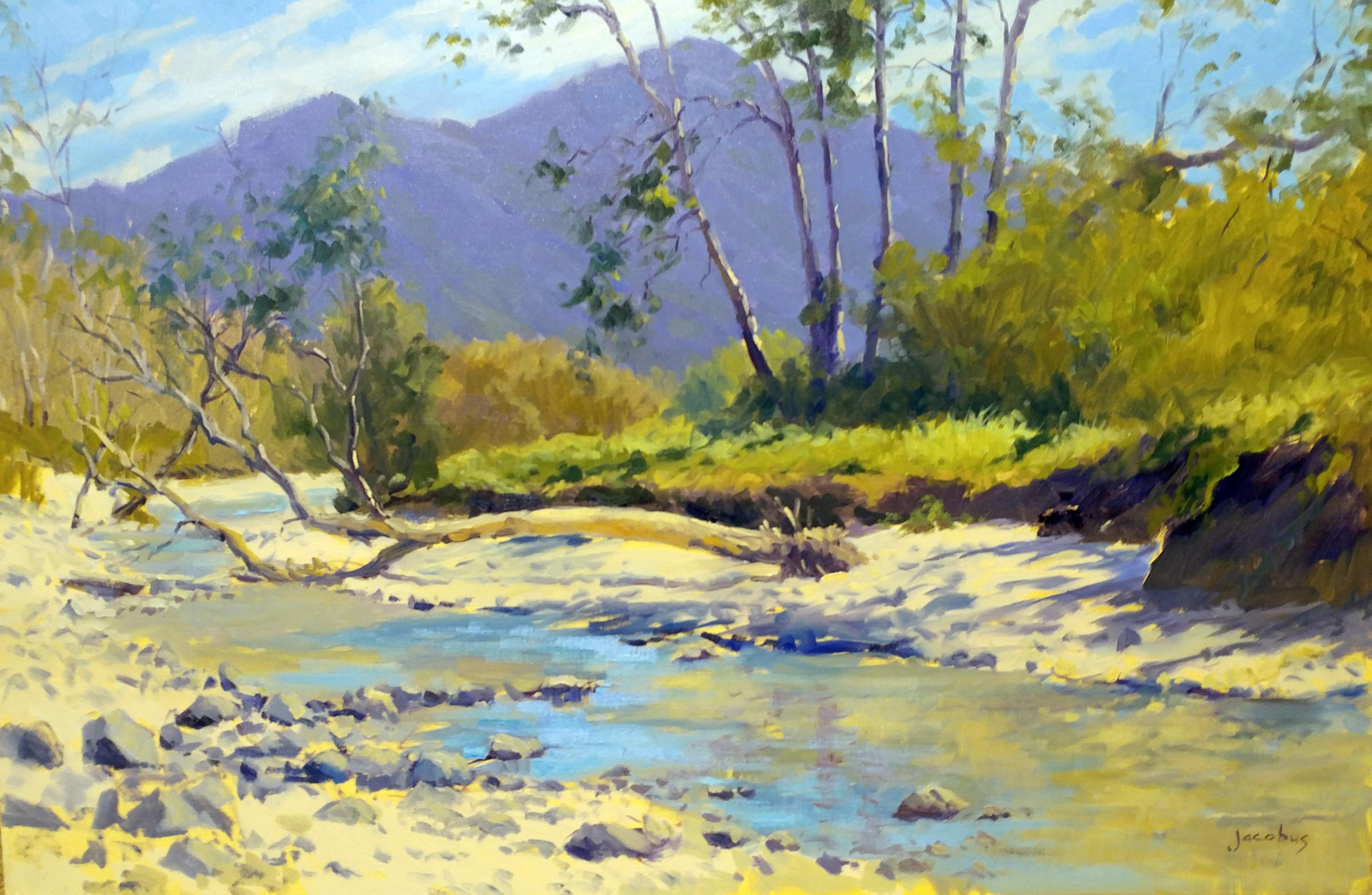 Jacobus Baas Sycamores Southern California Landscape Painting With Reflecting Stream At 1stdibs