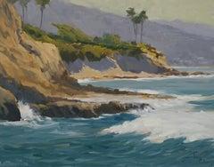 """""""View From Fisherman's Cove"""" Laguna Beach California Seascape Plein Air Painting"""