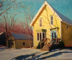 """Winter Shadows"" Maine Plein Air Oil Painting"