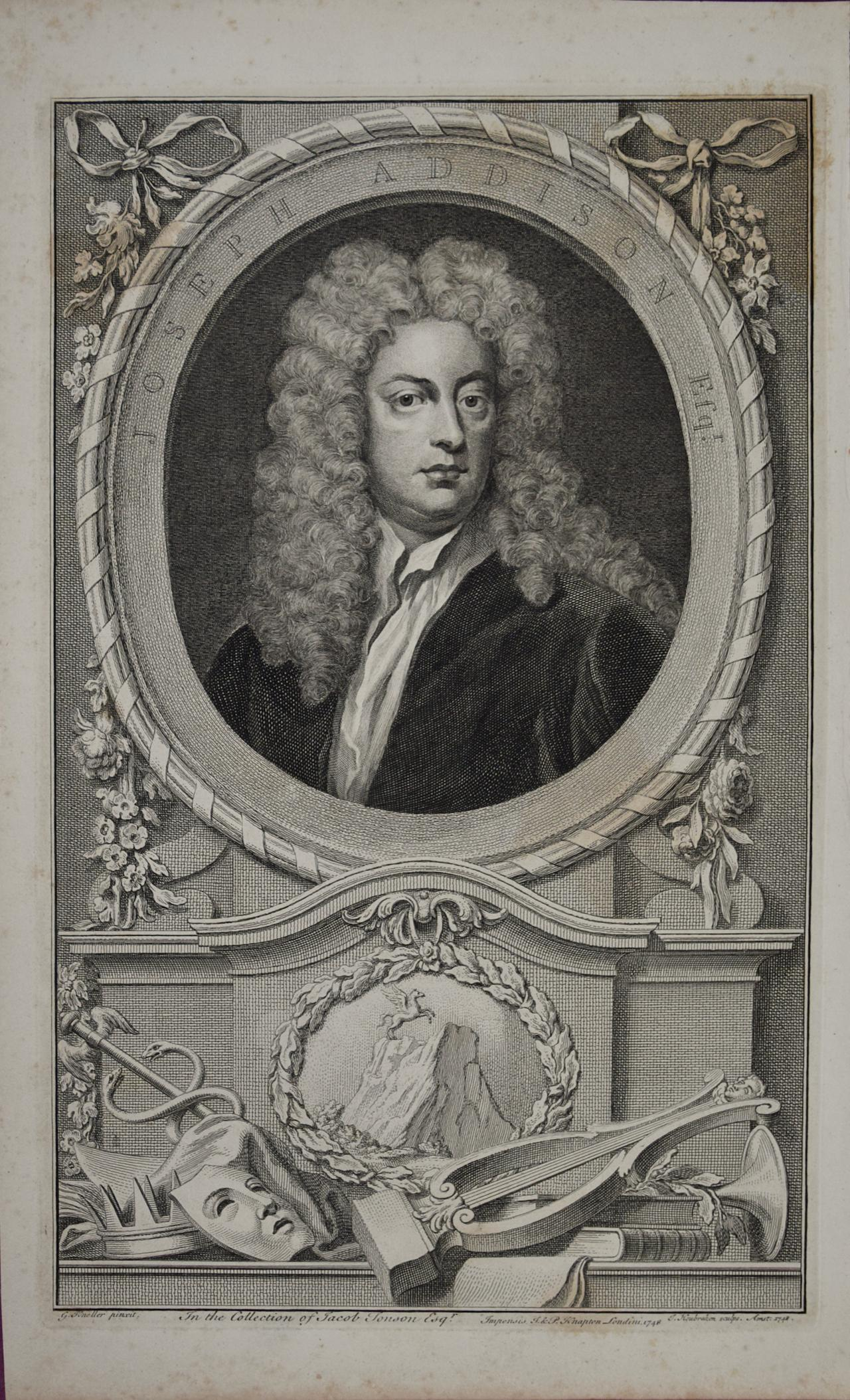 18th C. Portrait of Joseph Addison, Philosopher, Poet, Playwright and Politician