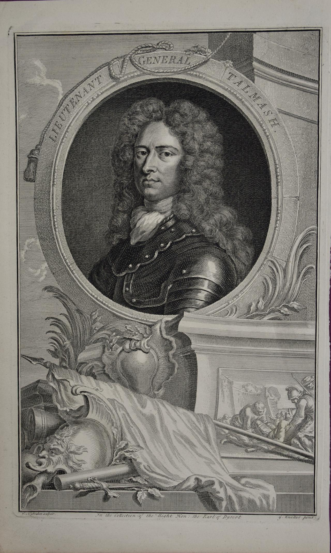 18th C. Portrait of Lieutenant General Talmash by Houbraken