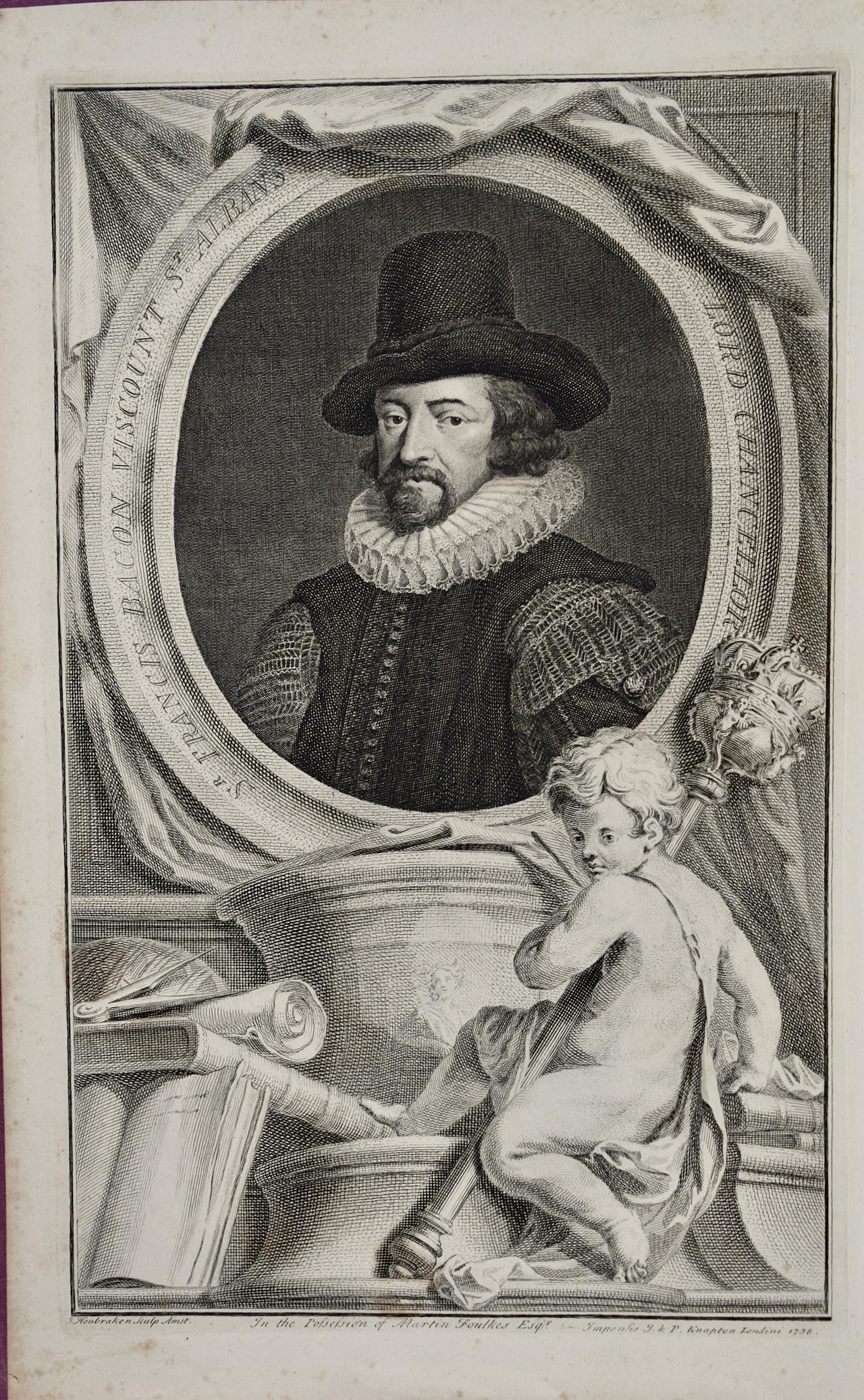 18th C. Portrait of Sir Francis Bacon: Philosopher, Scientist, Author, Statesman