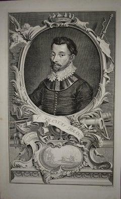 18th C. Portrait of Sir Francis Drake, 16th C. Navigator, Privateer, Politician