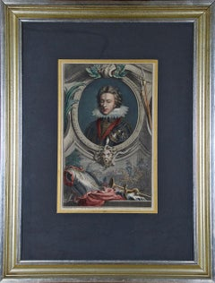 """Hand-Colored Houbraken Portrait of """"Henry, Prince of Wales, Son of James"""""""