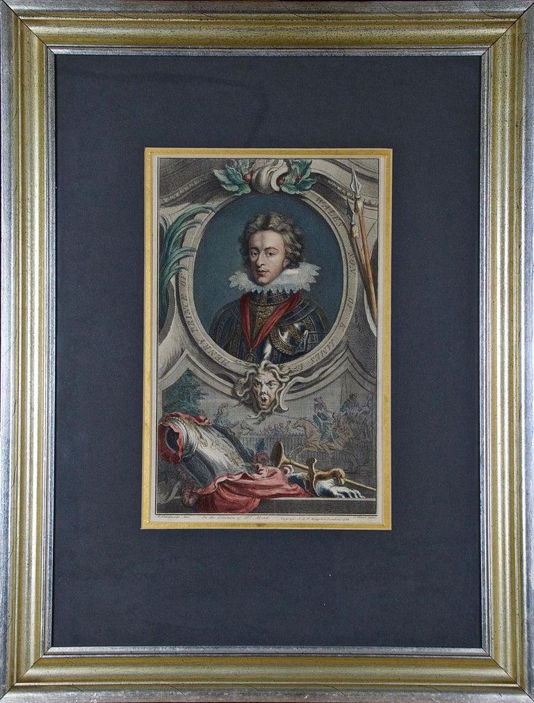 """Jacobus Houbraken Portrait Print - Hand-Colored Houbraken Portrait of """"Henry, Prince of Wales, Son of James"""""""