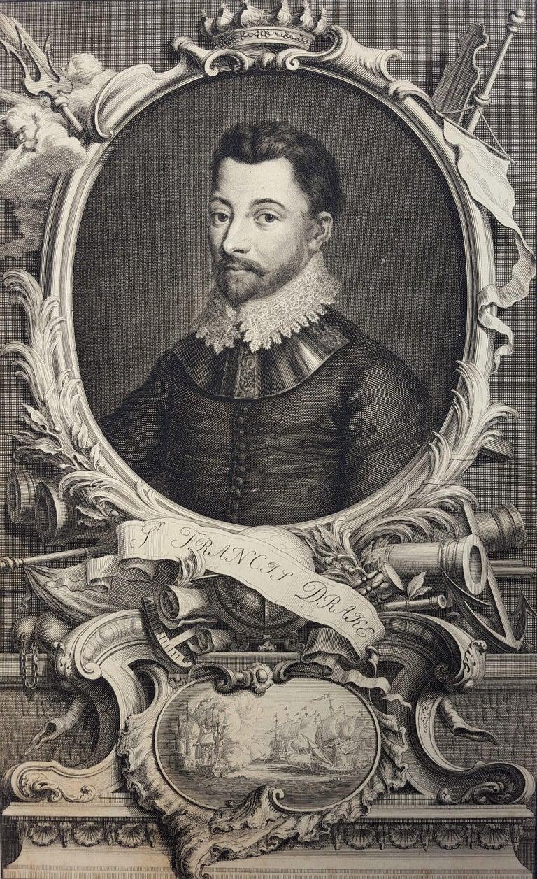 Jacobus Houbraken Portrait Print - Sir Francis Drake