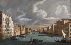 18th Century Jacopo Fabris Venice Ponte di Rialto Oil on Canvas Blue Red