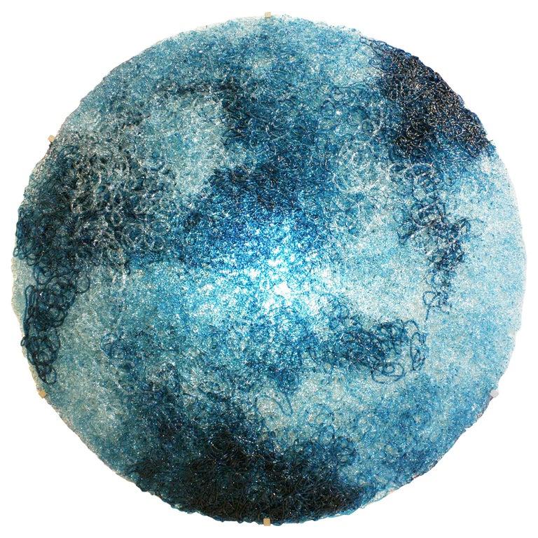 Jacopo Foggini Contemporary Modern Circular Blue Polycarbonate Italian Wall Ligh For Sale