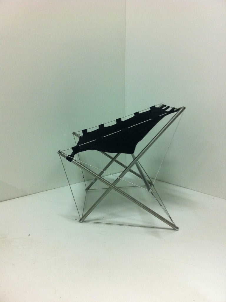 French Mid-century Modern SpaceAge Galaxy Zig-Zag Floating Lounge Chair Varichon In Fair Condition For Sale In Brooklyn, NY