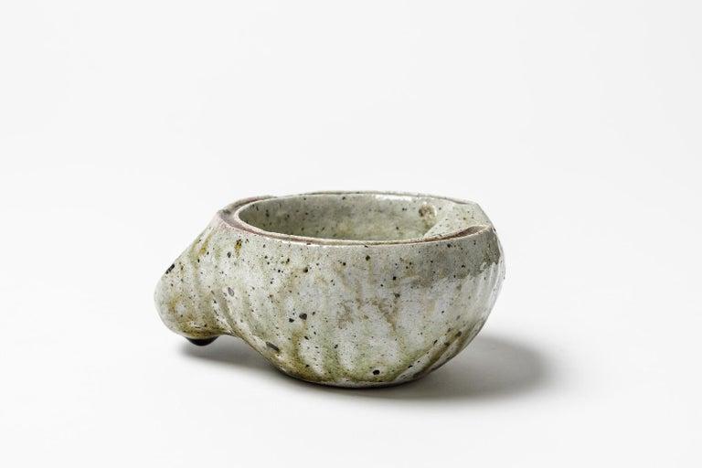 Mid-Century Modern Jacqueline and Jean Lerat La Borne Stoneware Ceramic Ashtray Modern Form 1950 For Sale