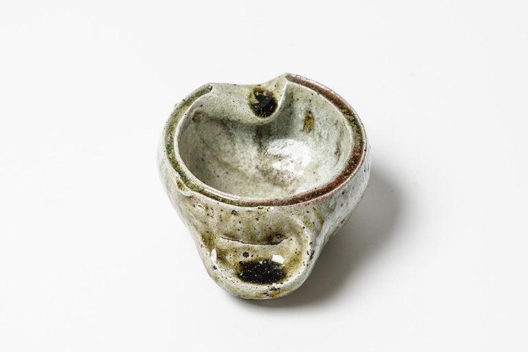 French Jacqueline and Jean Lerat La Borne Stoneware Ceramic Ashtray Modern Form 1950 For Sale