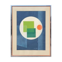 Colorful Mid Century Modern Abstract Blue, Green, and Red Print Edition 90/120